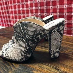 Qupid Snakeskin Print Heels